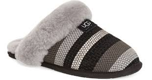 ugg slippers sale scuffette lyst ugg scuffette ii fur lined slippers in black