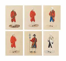 valet de pied valet de chambre école française du xixème siècle six études de costumes du