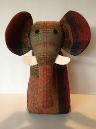Decorative Doorstop Tweed Fabric Elephant Door Stop Exclusively Designed U0026 Handmade