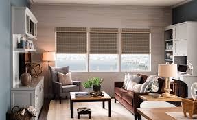 interior design glass window with chic bali blinds on white wall