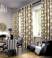 geometric yellow and gray curtain for large living room window