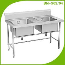 commercial stainless steel hotel kitchen equipment double sink