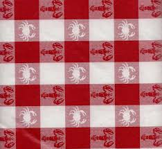 red white check tablecloth vinyl lobsters crab 52 x 70 gingham
