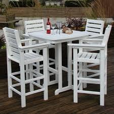 Patio Bar Height Dining Table Set Polywood Captain 5 Piece Bar Set U0026 Reviews Wayfair