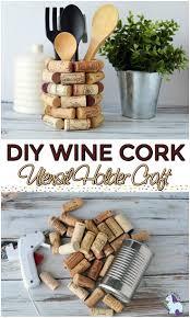 wine cork craft ideas diy kitchen utensil holder wine cork
