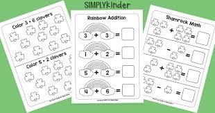 simple st patricks day math printables simply kinder
