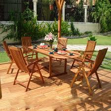 Eucalyptus Outdoor Table by Shop Vifah Vista 7 Piece Eucalyptus Patio Dining Set At Lowes Com
