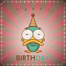 happy birthday greeting card with funny cartoon duck u2014 stock