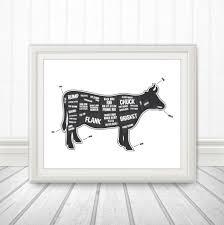 Goat Home Decor Cow Butcher Diagram Butcher Print Butcher Chart Cow Diagram