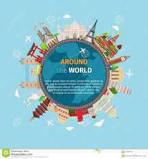 travel around the world postcard stock vector image 56926604