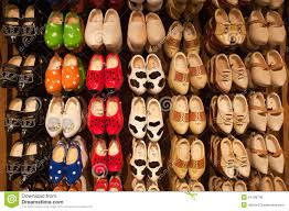 dutch wooden shoes wall display royalty free stock image image