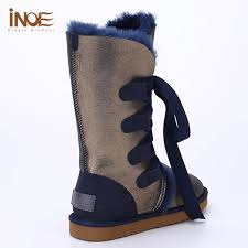 womens size 12 fur lined boots fur lined boots sheepskin leather navy blue knee high boots winter