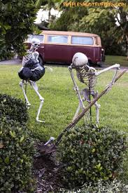 decorations with skeletons climbing up the side of the