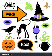 cute set halloween witch photo booth stock vector 317566115