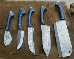 handmade damascus hunting and kitchen knives set with one matching