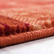 Wohnzimmer Orange Teppich Wohnzimmer Teppich Retro Muster Meliert In Terracotta