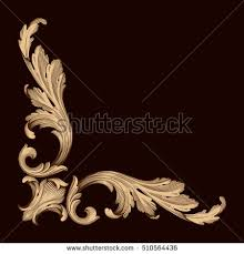 gold vintage baroque corner ornament retro stock vector 519277285