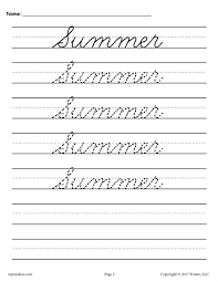 10 free cursive handwriting worksheets seasons and holidays