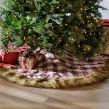 plaid tree skirt plaid fur tree skirt kirklands