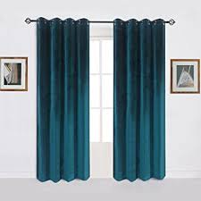 Green And Blue Curtains Soft Luxury Velvet Set Of 2 Green Blackout