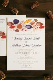 wedding invite return address 5x7 fall wedding invitation with leaves in purple red orange and