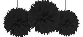 black decorations black balloons banners confetti city