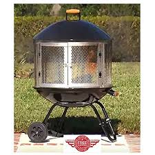Firepit On Wheels Outdoor Fireplace Patio Pit Ring Metal Portable Modern