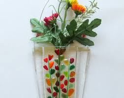 Hanging Glass Wall Vase Fused Glass Wall Vase Fused Glass Flower Vase Wall Hanging