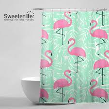 Flamingo Shower Curtains Marvelous Tropical Trendy Pattern Shower Curtain Pink Mint Green