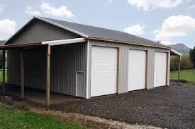 Gambrel Pole Barn 48 U0027 X 48 U0027 X 16 U0027 Pole Building With 3 Overhead Doors And 2 Lean