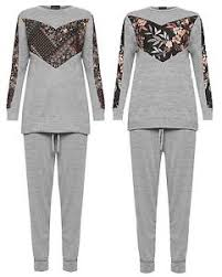 ladies floral paisley panel long sleeve tracksuit womens lounge
