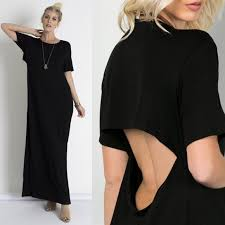 zara open back long dress black boutique spandex fabric