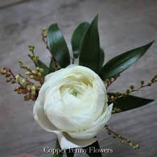 white boutonniere white ranunculus boutonniere new from copper flowers
