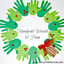 handprint wreath craft for kids with poem