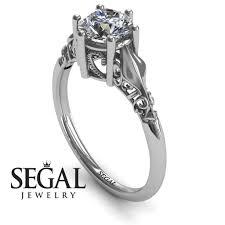 antique engagement ring 14k white gold 1 carat round cut diamond