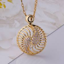 rose zircon necklace images Necklaces women korean round gold plated rose gold plated copper jpeg
