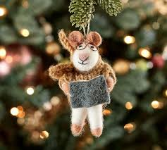 felt mouse with sweater ornament pottery barn