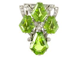 art deco peridot u0026 diamond clip from the antique jewellery company