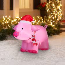 Lighted Christmas Decorations by Gemmy Airblown Inflatable 3 U0027 Pig Christmas Decoration Walmart Com