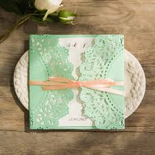 wedding invitations minted affordable mint and ribbon laser cut wedding invites ewws104