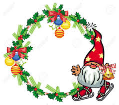 Gnome Ornament Christmas Round Holiday Frame With Little Gnome And Christmas Ornament