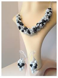 chunky pearl crystal necklace images White silver grey black pearl crystal necklace bracelet earrings jpg