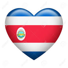 Costarican Flag Heart Shape Of Costa Rica Flag Isolated On White Stock Photo