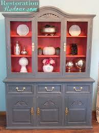 repurpose china cabinet in bedroom china hutch makeover with plaster paint debbiedoos
