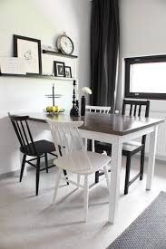 Wooden Dining Table Makeover With Steel Wool And Vinegar Stain - White and black dining table