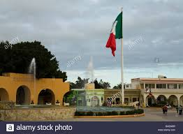mexico san jose del cabo mexican flag and fountains in downtown