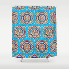 Bright Blue Curtains Bright Blue Floral Shower Curtain By Sarahoelerich Society6