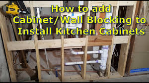 how to add cabinet wall blocking to stud walls for easy kitchen
