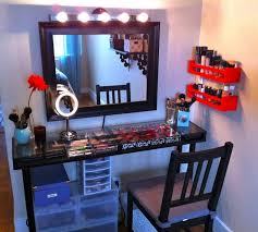 Table Vanity Mirror With Lights Bedroom Enchanting White Makeup Vanity Table With Lighted Mirror