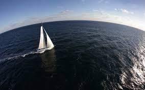 sailing ship sea yachts fisheye lens horizon clouds waves